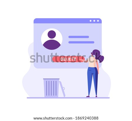 Woman standing with account or profile and trash can. User deleting social account to waste bin. Concept of delete profile, account deactivation, remove data files or page. Flat vector illustration