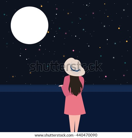 woman staring at the moon with