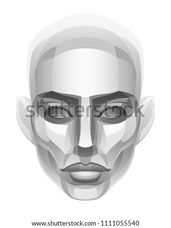 woman stone head on a white
