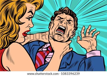 woman strangling man female