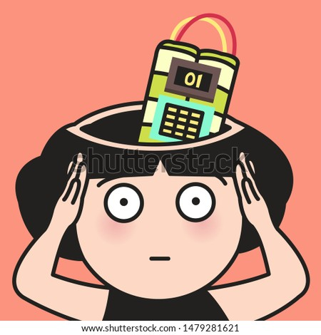 Woman Stunned By Strong Headache With A Bomb Inside Her Head Concept Card Character illustration