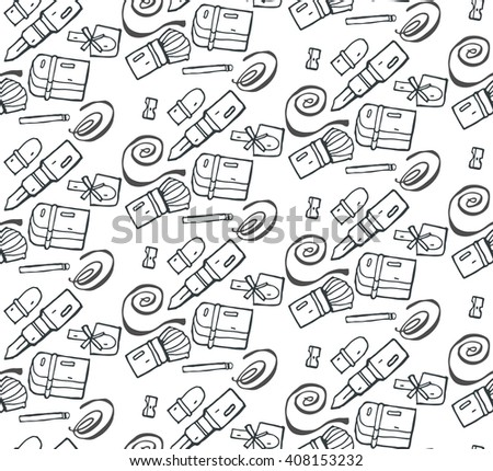Woman style hand drawn seamless vector pattern.Girl stuff pattern.Black and white.Cosmetics pattern. Accessories illustration.