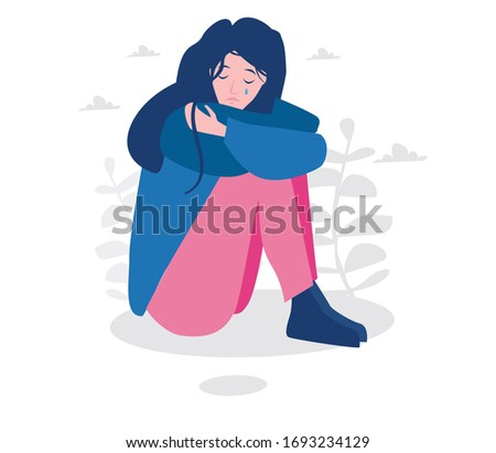 Woman suffering from depression sitting on floor and crying. .Vector illustration for web banner, infographics, mobile. female teen character