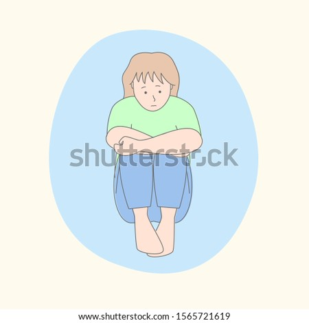 Woman suffering from panic attacks, mental disorder and depression. Modern simple  flat vector illustration. Stock fotó ©