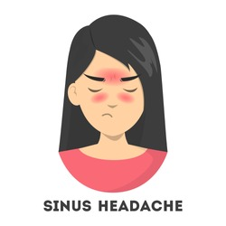 Woman suffering from the sinus headache. Nasal infection, medical condition. Pain in the head because of the respiratory disease. Isolated vector illustration in cartoon style