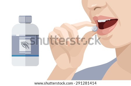 woman takes a pill vector flat