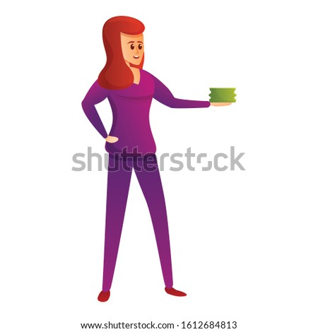 Woman takes cash money icon. Cartoon of woman takes cash money vector icon for web design isolated on white background