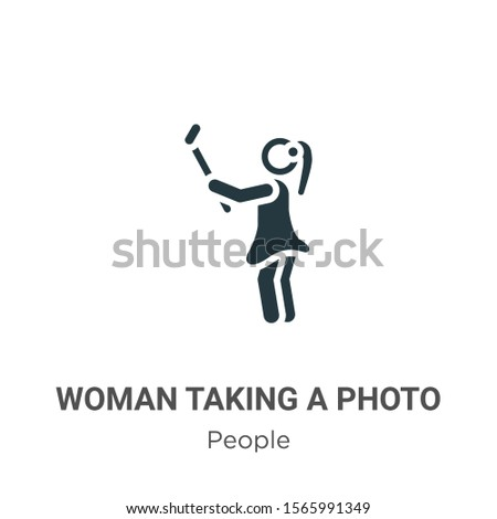 Woman taking a photo vector icon on white background. Flat vector woman taking a photo icon symbol sign from modern people collection for mobile concept and web apps design.