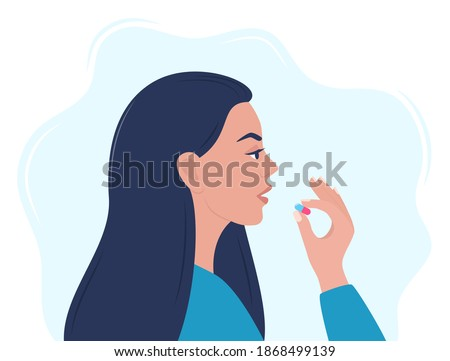 Woman taking a pill in to her mouth. Woman holds a pill in her hand and intends to take it. Medication treatment, pharmacy and medicine, concept vector illustration