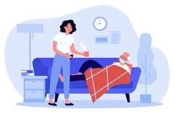 Woman taking care about senior man with flu. Adult daughter giving hot drink to old father flat vector illustration. Family, flu, illness concept for banner, website design or landing web page