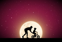 Woman teaching boy to ride bike on moonlit night. Vector illustration with silhouette of mother with child on bicycle in park. Full moon in starry sky