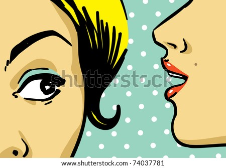 woman telling secrets, pop art retro style illustration