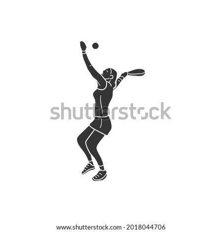 Woman Tennis Player Icon Silhouette Illustration. Padle Sport Vector Graphic Pictogram Symbol Clip Art. Doodle Sketch Black Sign. Stock fotó ©