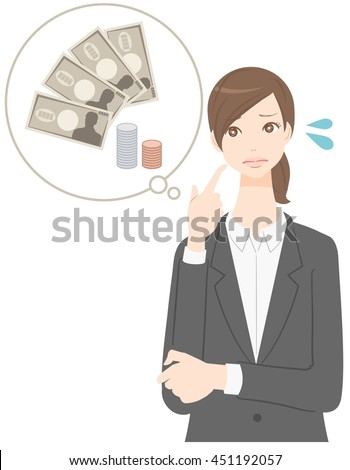 woman thats thinking about money