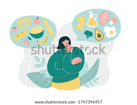 Woman thinking over Low Carb High Fat Diet. Young girl considering Keto Diet. Oversized woman choosing fat food over carbs. Healthy eating concept. Modern flat cartoon character.
