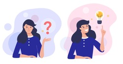 Woman thinking  - trying to find a solution with question mark and happy with light bulb creative idea. Concept vector illustration.