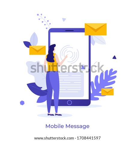 Woman touching screen of giant smartphone. Concept of sending and receiving mobile messages, instant messaging, internet messenger, online chat, digital communication. Creative flat vector illustratio