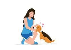 Woman trainer treat dog with praising domestic animal pat on it head. Vector flat illustration
