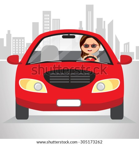 woman traveling in car on