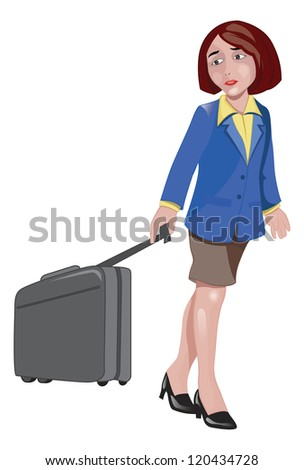 Woman Traveller Pulling Luggage, vector illustration