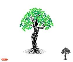 Woman Tree logo Vector isolated, dryad tree, mythology, goddess logo.