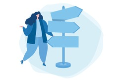 Woman trying to choose direction. Vector illustration for web banner, infographics, mobile.