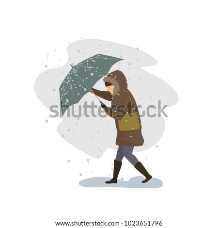 woman trying to cope with strong wind and snow storm