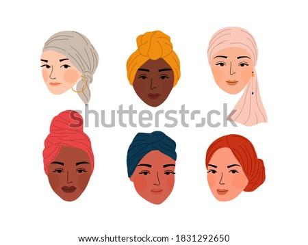 Woman Turban Headband ruffle cancer chemo hair hats. Breast cancer awareness. Hand drawn vector illustration. Stockfoto ©