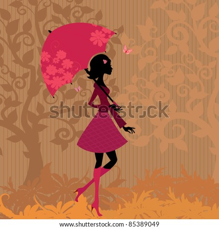 woman under an umbrella in the