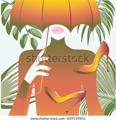 woman under umbrella realistic