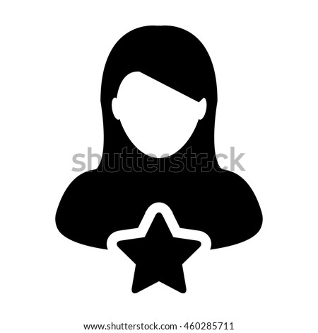 woman user icon with star