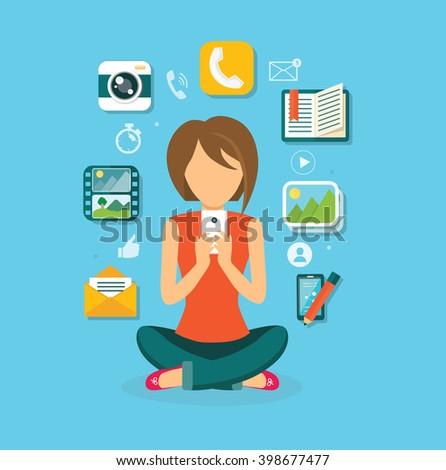 Woman user smartphone design flat. Computer user icon, social media, web user phone, web phone internet, social network communication illustration