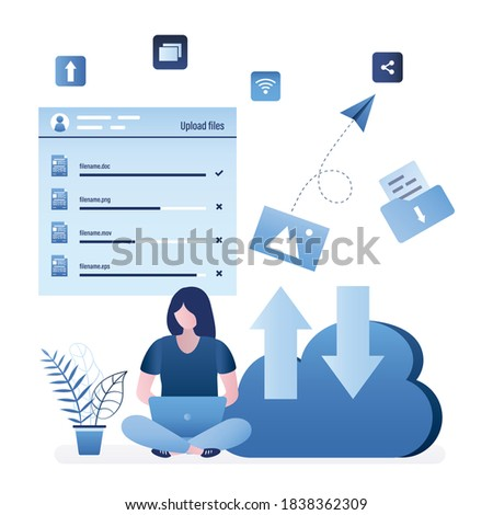Woman user uploads various files in virtual storage. Female character use laptop and sits near big cloud. Adding media content, cloud service and data storage. Web hosting concept. Vector illustration