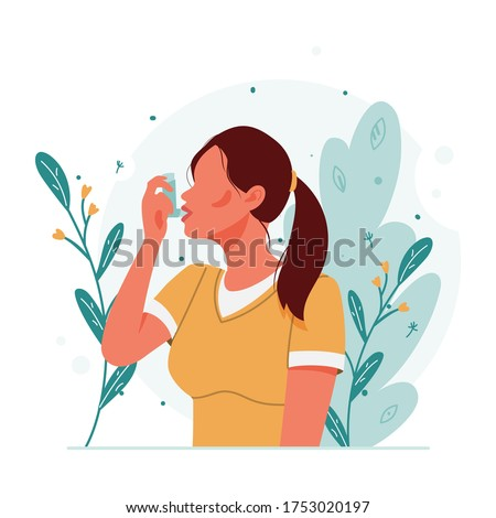 Woman uses an asthma inhaler against an allergic attack. World asthma day. Allergy, asthmatic. Inhalation medicine. Bronchial asthma. Vector flat concept illustration Stock photo ©