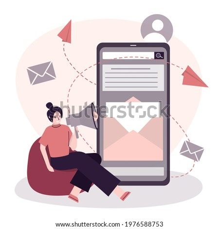 Woman uses megaphone, report about message on phone screen. Sitting female character announce about new letter. Promotion campaing. Receiving letters, notification and announcement. Vector illustratio Foto stock ©