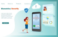 Woman using biometric identification fingerprint scanning. to access financial data. Idea for safety innovation, cyber crime defence in digital online technology.