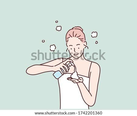 Woman Using Cosmetic Cleansing Gel or Facial Wash to Clean Her Face. Hand drawn style vector design illustrations.