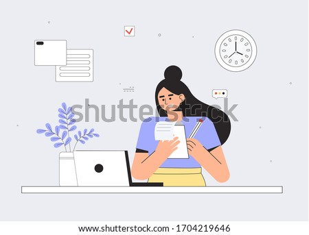 Woman using laptop and writes a lecture in a notebook. Education online training courses, self education, e-learning, distance studying, webinar, coaching concept. Flat style vector illustration.