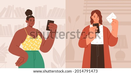 Woman using mobile app for mails and messages on smartphone. Person texting email in online messenger. People holding smart phones. Colored flat vector illustration of young human and cellphone