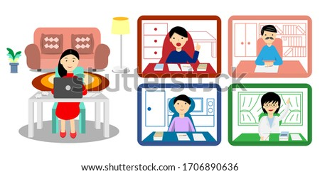 woman using notebook for video conference with workmates. All of them working from home vector.