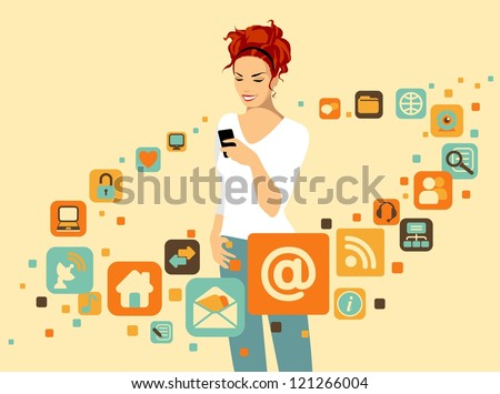 Woman using smartphone. Around it - social and media icons