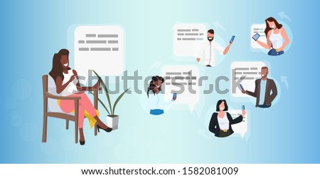 woman using smartphone chatting with mix race friends social network speech chat bubble communication concept african american girl sitting on armchair full length horizontal vector illustration