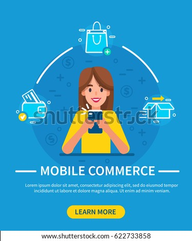 Woman using smartphone for shopping. Mobile commerce concept. Vector illustration.