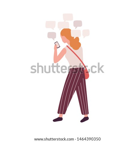 Woman using smartphone isolated on white background. Girl with social media obsession, online messaging addiction. Behavioral problem, psychiatric condition. Flat cartoon colorful vector illustration.