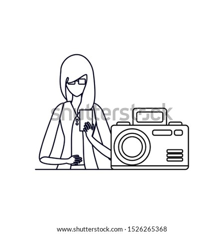 woman using smartphone with camera photographic vector illustration design