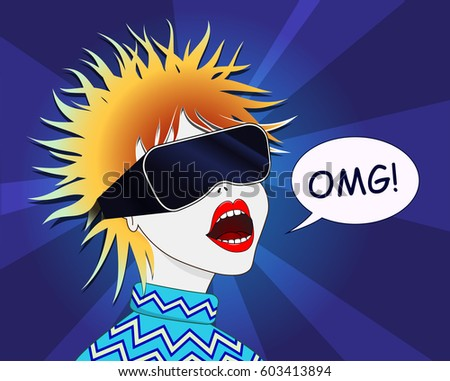 Woman using the virtual reality headset. Vector illustration