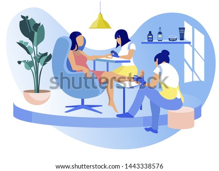 Woman Visiting Beauty Salon, Masters Doing Manicure and Pedicure, Barbershop Interior for Girls, Grooming Place, Club with Professional Devices, Fashion, Spa Body Care Cartoon Flat Vector Illustration