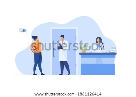 Woman visiting doctor with spinal pain. Hospital, backache, examination flat vector illustration. Medicine and healthcare concept for banner, website design or landing web page Stock photo ©