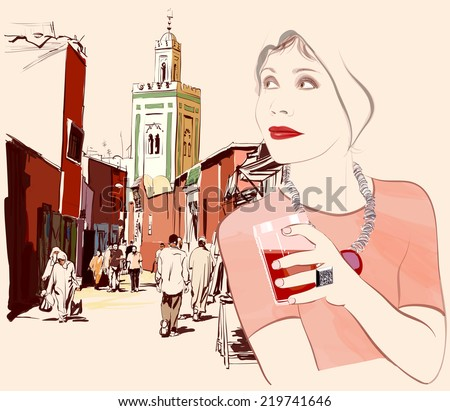 woman visiting marrakesh in
