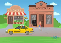 Woman waiting for taxi after shopping in bookstore illustration. Young female cartoon character in dress with bags of books walking towards yellow car, flower shop. Market street, bookstore concept